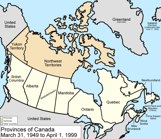 Map Of Canada In 1949 File:Canada provinces 1949 1999.png   Wikimedia Commons