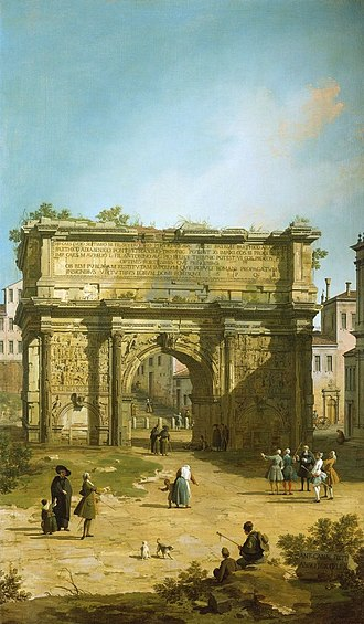Bollard - The Arch of Septimius Severus in Rome, painted by Canaletto in 1742. Five bollards stand beyond the arch, apparently placed to protect it from vehicle damage.