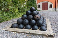 Cannonballs at Vaxholm Fortress in August 2019.jpg