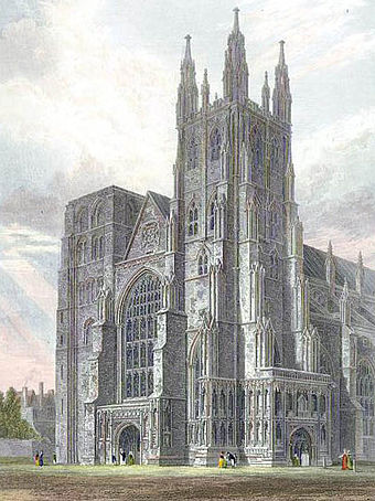 The west front in 1821 showing the Norman north west tower prior to rebuilding, (coloured engraving) Canterbury Cathedral, view of the Western Towers engraved by J.LeKeux after a picture by G.Cattermole, 1821 edited.jpg