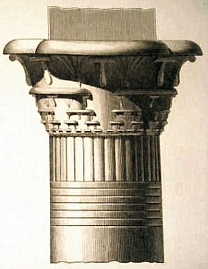 Cantor set - Column capital with pattern like Cantor set. Engraving of Ile de Philae from Description d'Egypte by Jean-Baptiste Prosper Jollois and Edouard Devilliers, Imprimerie Imperiale, Paris, 1809-1828