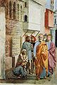 Cappella brancacci, San Pietro risana gli infermi con la sua ombra (restaurato), Masaccio.jpg