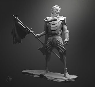 Captain Moroni - An artist's impression of Captain Moroni, commander of the Nephite forces from around 74–56 BC, digital sculpture by Josh Cotton