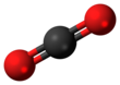 Ball-and-stick model of carbon dioxide Carbon dioxide 3D ball.png