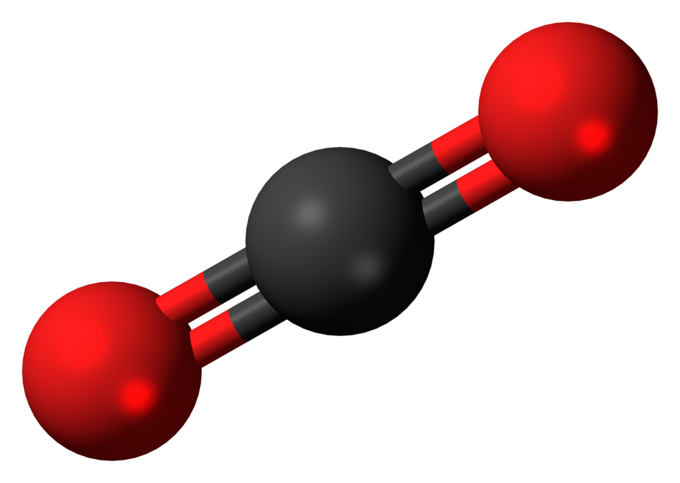 Ball-and-stick model of carbon dioxide