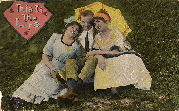 """This Is the Life"", 1910 postcard illustrating a menage a trois"