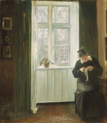 Interior with the artist's wife sowing at the window.