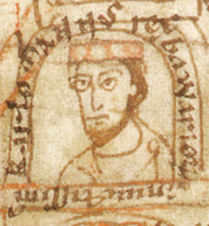 Carloman of Bavaria - Carloman (Karlomannus rex Bawariae), from a 12th-century manuscript
