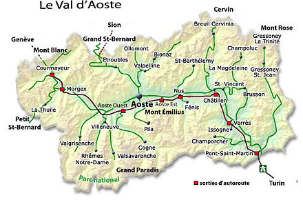 Carte Val Daoste Italie.Vallee D Aoste Wikipedia