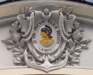 "Si vis pacem, para bellum - Relief at the entrance of the Cultural Center of the Armies (former Serviceman's Casino) of Madrid (Spain), at 13 Gran Vía (a downtown avenue), showing the Latin phrase ""Si vis pacem, para bellum""."