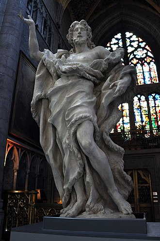 Liège Cathedral - Jean Del Cour: limewood statue of St John the Baptist, dated 1682, from the église Saint-Jean Baptiste on Féronstrée