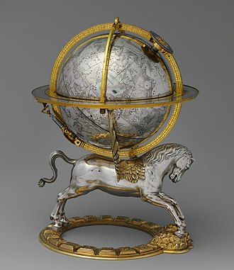 Rudolf II, Holy Roman Emperor - Richly ornamented celestial globe with clockwork, made for the Kunstkammer of Rudolf II, 1579