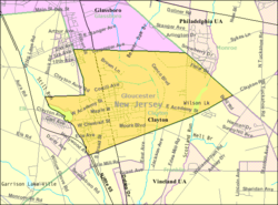 Census Bureau map of Clayton, New Jersey