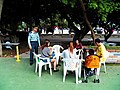 Central Reserve Command Major General Li talking with visitors 20121006.jpg