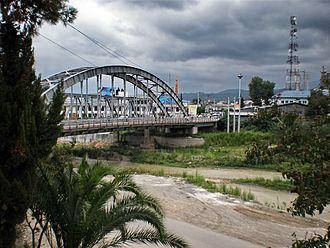 "Chalus, Iran - Chalus on Chalus River with ""Pol-e Ahani (Iron Bridge)"""