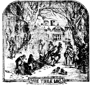 Yule log - An illustration of people collecting a Yule log from Chambers Book of Days (1832)