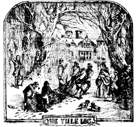 An illustration of people collecting a Yule log from Chambers Book of Days (1832) Chambers Yule Log.png