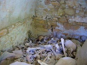 Charnel house - Contents of a Greek Orthodox charnel house showing disarticulated human skeletal remains