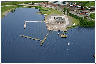 Chasewater Watersports Centre - Overhead view of Chasewater Watersports Centre with chasewater railway in the background.