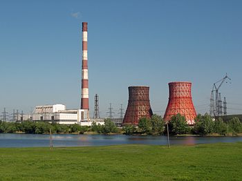 Chimney and two hiperboloide cooling towers on Kharkov-CN.jpg
