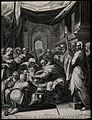 Christ is circumcised in a crowded church. Engraving by A. S Wellcome V0034639.jpg