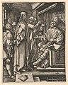 Christ standing, hands tied behind back, before Herod seated on throne, after Dürer MET DP820317.jpg