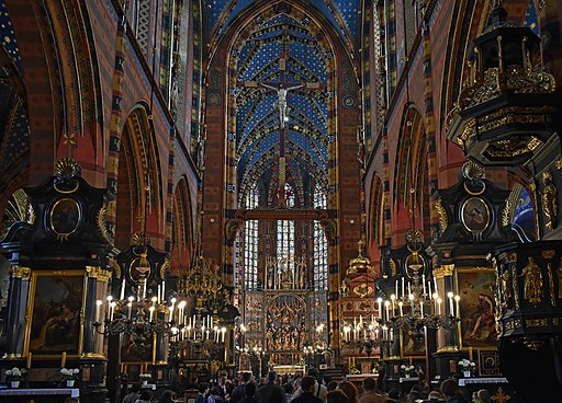 Church of Our Lady Assumed into Heaven (St. Mary's Church), interior-main nave, 5 Mariacki square, Old Town, Krakow, Poland