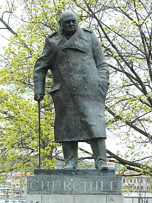Žižkov - Monument to Churchill on Winston Churchill Square