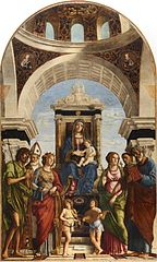Madonna enthroned with child with angels and saints