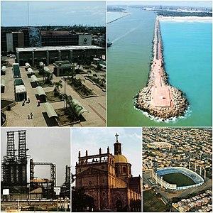 Ciudad Madero - Top Left:  Downtown, Miramar Beach Breakwater, Francisco I. Madero Refinery, Sagrado Corazón de Jesús Church, Tamaulipas Stadium.
