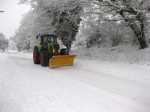 A Claas tractor with snow plough. Snowy Alton ...
