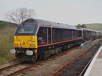 British Royal Train - Royal Train hauled by a Class 67 Royal Sovereign during a Royal visit to Machynlleth in April 2010