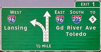 Clearview (typeface) - A Clearview highway sign in Farmington Hills, Michigan, installed in 2005 near the terminus of westbound I-696. Note that numerals within the shields use the traditional FHWA typeface Highway Gothic.