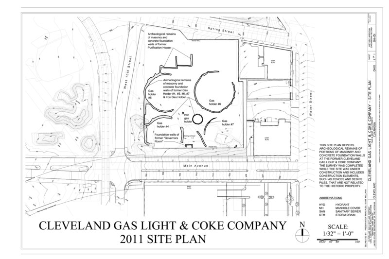 File:Cleveland Gas Light and Coke Company, 2011 Site Plan - Cleveland Gas Light and Coke Company, Main and West 10th Streets, Cleveland, Cuyahoga County, OH HAER OH-131 (sheet 1 of 1).tif
