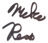 A signature, written in a marker with little importance towards it's overall appearance, which, although slightly illegible says Mike Reiss