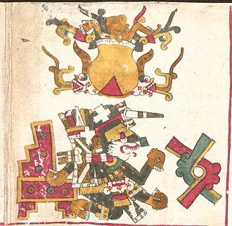 Xolotl - Day symbol Ollin in Codex Borgia (p.10)