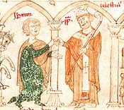 Celestine III.  (right) and Heinrich VI.  in an illustration from the Liber ad honorem Augusti by Petrus de Ebulo, 1196