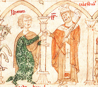 Crusade of 1197 - Henry and Pope Celestine, from Liber ad honorem Augusti by Peter of Eboli, 1196