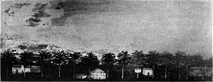 Timothy Bigelow (soldier) - This painting of Col. Timothy Bigelow's house was discovered on a panel board above the fireplace in the parlor of the Theophilus Wheeler house when the paint was scraped off. It must have been depicted before the close of the Revolution as determined by the street-scape of the time.