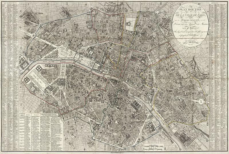 File:Collin, Plan routier de la ville de Paris et des ses faubourgs, 1823.jpg - Wikimedia Commons