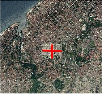 Colon Cemetery, Havana - Colon Cemetery Arial.1. Havana, Cuba. Showing N-S axis to El Vedado