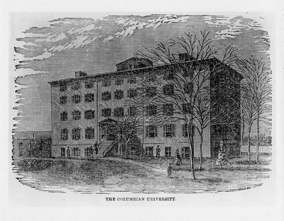 This engraving of the Columbian College Building was contributed to Wikimedia Commons through a partnership with George Washington University.