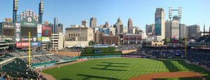 Comerica Park - Downtown Detroit skyline as seen from upper deck.