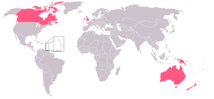 The Commonwealth Realms, shown in pink