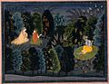 Companion Persuading Radha as Krishna Flutes, Folio from the 'Lambagraon' Gita Govinda (Song of the Cowherd) LACMA M.71.49.7.jpg