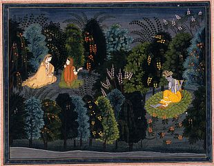Companion Persuading Radha as Krishna Flutes