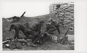 Cam Lộ Combat Base - Company H, 2/4 Marines rush for cover during an attack on Cam Lo Combat Base