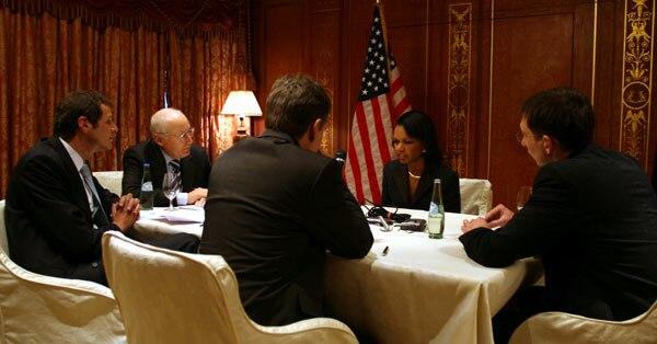 Condoleezza Rice, Stefan Aust, Gerhard Sporl, Georg Mascolo and Ralf Beste 2007