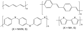 Conductive polymer - Chemical structures of some conductive polymers. From top left clockwise: polyacetylene; polyphenylene vinylene; polypyrrole (X = NH) and polythiophene (X = S); and polypyrrole (X = NH) and polyphenylene sulfide (X = S).