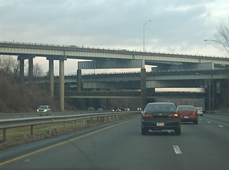 Stack interchange - The partially used stack interchange over I‑84. CT‑9 traffic can be seen using the flyover to access westbound I‑84.